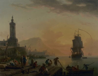A Calm at a Mediterranean Port, c.1770, Oil on Canvas