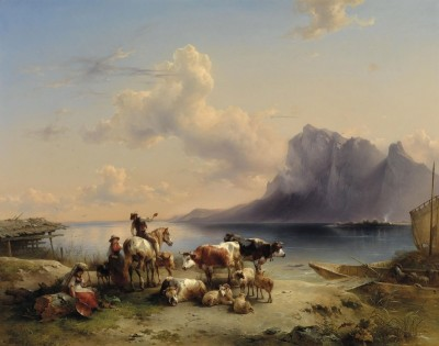 Peasants with Flock at Lake Attersee, Austria, c.1840, Oil on Panel
