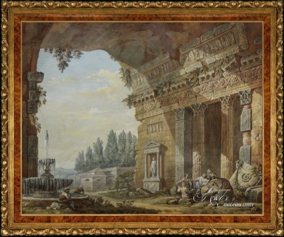 Roman Colonnade, after French artist Charles Clerisseau