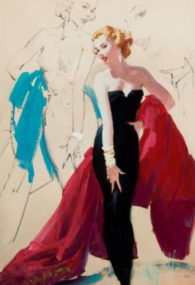 Black Evening Dress, Brown and Bigelow, c. 1957, Oil on Canvas