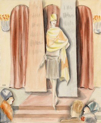 Standing Model, c.1932, Watercolor over Pencil Drawing