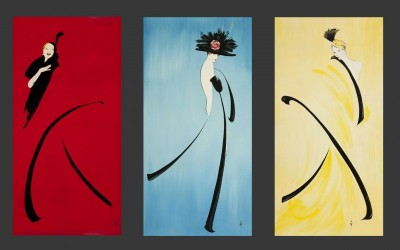 Les Girls, Triptych, c.1988, Lacquered Panels