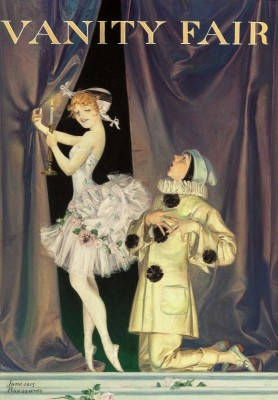 Pierrot and Columbine, Vanity Fair Magazine Cover, c.1915, Drawing on Parchment
