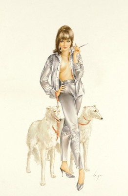 Playboy October, c.1974, Colored Pencil and Watercolor