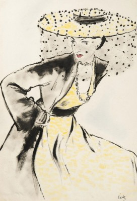 Lady with a Yellow Hat, c.1947, Ink and Watercolour