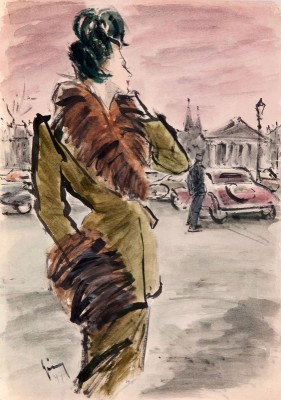 Young Model for the Spiegel Publication, c.1947, Indian Ink & Watercolour
