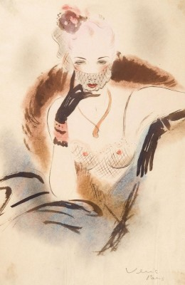 Repose in Lingerie, c.1947, Ink and Watercolour