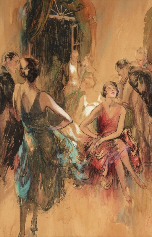 The Great Gatsby Party Scene, c.1930, Watercolor