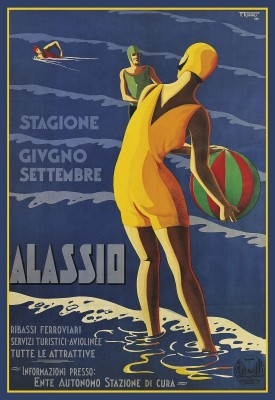 Alassio, Italy Travel Poster, c.1929, Lithograph on Fine Linen