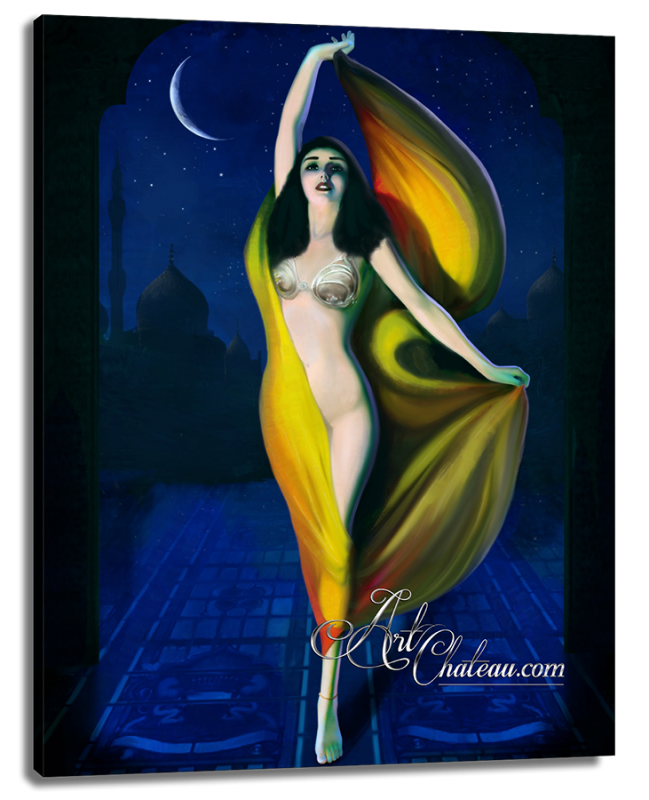 Surrealist painting of Fatima, after Rolf Armstrong